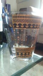 4 Vtg Georges Briard Signed Black And Gold Tumbler Glasses Tapered Stacking
