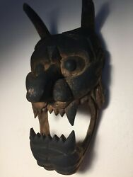 Antique Japanese Temple Mask Of An Ogre To Drive Out Evil... Invite Good Luck