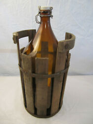 Antique Large Amber Brown Glass Jar In Wood Carrier