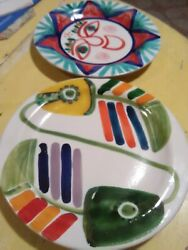 Pair Vintage Desimone Italy Happy Face Sun Plate And Fish Plate 10