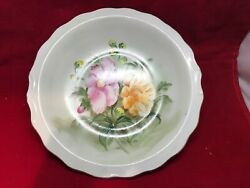 Lefton China 9.25 Water Pitcher Basin Bowl Hand Painted Pink And Orange Flowers