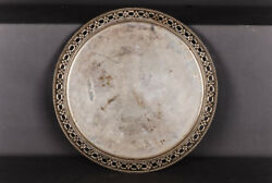 Antique 800 Crescent & Crown Silver Plate Tray 1269 Grams