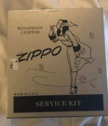 Zippo Service Kit With Zippo Girl And Silver Plate Zippo Lighter Collectible.