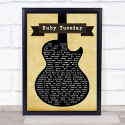 Ruby Tuesday Black Guitar Song Lyric Quote Print