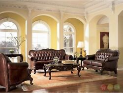 Victoria Traditional Brown Genuine Leather Tufted Sofa LoveSeat Chair Couch Set