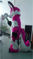Fox Dog Mascot Dress Long Fur Red Husky Wolf Costume Suit Unisex Birthday Outfit