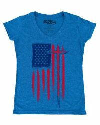 USA Flag with Cross Women#x27;s V Neck T shirt American Christian Jesus Faith Tee $9.95