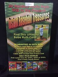 Instant Baseball Treasures Sealed Box - 20 Unopened Packs + Auto/jersey +more