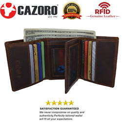 Cazoro Mens RFID Blocking Hunter Leather Credit Card ID Trifold Wallet