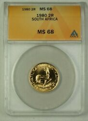 1980 South Africa Two Rand 2r Gold Coin Anacs Ms-68