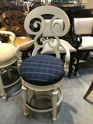 2 Frontgate Louisa Blue Faric Seat Barstool Counter Bar Stool 30 Wood Chair