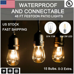 5x 48 ft S14S14 LED Connectable Patio Festoon String Lights Outdoor Party Decor