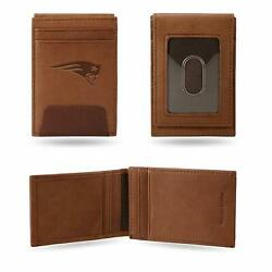 New England Patriots - Nfl - Brown Leather Money Clip Front Pocket Wallet