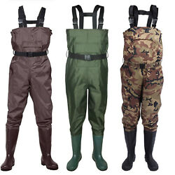 2-ply Waterproof Chest Waders Fishing Hunting Nylon Rubber Bootfoot 8-14 Size
