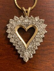 Estate Vintage 14k Gold Necklace With Heart Pendent Two Rows Of Diamonds Italy