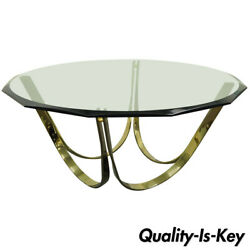 Trimark Brass Plated Steel And Glass Coffee Table After Roger Sprunger For Dunbar