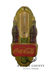 1940's Art Deco Vintage Coca Cola Embossed Tin Advertising Thermometer