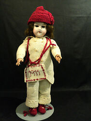 Beautiful Antique 17 German Bisque Head, Open Mouth Doll, Knitted Clothing