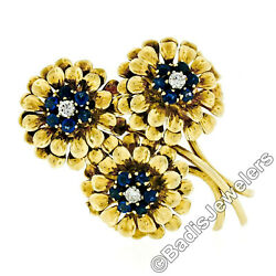 Vintage Tiffany & Co. 18k Gold Diamond Sapphire Daisy Flower Bouquet Brooch Pin