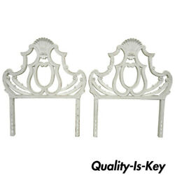 Pair Vintage Cast Aluminum Metal Shell French Rococo Single Twin Bed Headboards