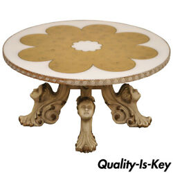 Hollywood Regency Figural Carved Faces Gold Leaf Glass Top Round Coffee Table