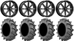 Msa Milled Boxer 18 Wheels 35x9.5 8ply Bkt 171 Tires Rzr Turbo S / Rs1
