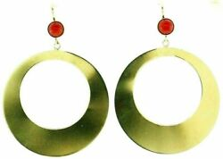 Vintage 14k Yellow Gold Coral Circle Earrings