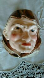 Majolica Wall Hanging Monk Match Holder Or Match Safe Very Unusual Look @@@