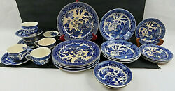 Antique Set Of 24 Pieces Of Blue China Porcelain Dinner Dishes Japan