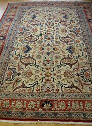 Genuine Antique Floral Hand Knotted Wool Premium Oriental Rug Cleaned 7.4 X 11
