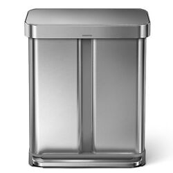 Step Trash Can Dual Compartment 58 Litre 15 Gallon Recycler Nano Stainless Steel