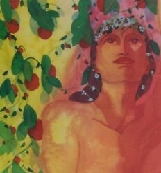 Jeanne Carbonetti Original Watercolor Painting 1991 Andldquoi Pick The Fruit Of Life