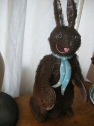 Vintage Wire Sculpture And Steel Wool Easter Bunny Rabbit Figure Statue 19 Tall