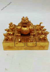 """6"""" 15cm Collect Chinese Antique Bronze 24k Gold Handmade Chinese Zodiac Seal Jyq"""