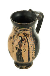 Ancient Greece Pottery Vase W/black Figure -possibly 5th Century B.c.