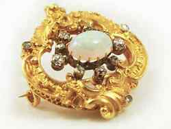 Art Deco Vintage yellow gold Victorian style Opal Diamond brooch pin $3450