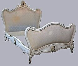 Antique French Louis Xvi Rococo Carved Ornate Full Headboard Bed Frame 19th C.