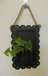 Scalloped Punched Tin Wall Vase or Plant starter rope hanger Unique and cute