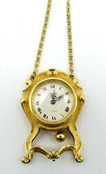 Vintage Signed Trifari 17 Jewels Clock Pendant Necklace w Pendulum Works