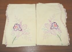 Vintage Pair Cotton Pillowcases Hand Embroidered Daffodil Crochet Edge 19 X 29