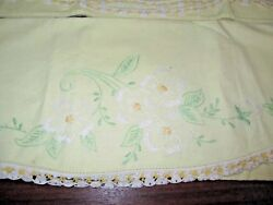 Vintage Pair Cotton Pillowcases Hand Embroidered Floral Crochet Edge 20 X 30