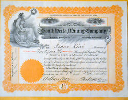 South Hecla Mining Company 1910 Antique Stock Certificate - Utah