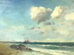 Seascape Oil Painting, Antique Style, Large Size, Handmade Signed, One Of A Kind