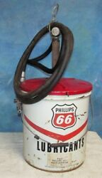 Vtg 70and039s Phillips 66 Lubricants 5 Gallon Can W/zee Line Grease Gun And Hose J0371