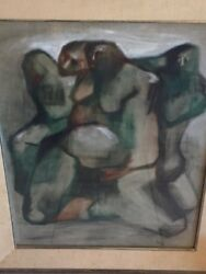 Original Painting Signed By Pobano Latin American Artist 1960