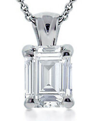 0.90 Ct Emerald Cut Diamond Solitaire Pendant Necklace With 16 Inch Chain