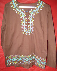 Vtg Hippie Tunic pullover long sleeve Teal Embriodery on coco color by a.n.a.