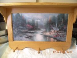 Thomas Kinkade The End Of A Perfect Day Ii Wooden Wall Coat Hanger And Shelf
