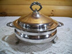 Vtg English Silver Mfg Co Plated Casserole Dish/ Pyrex Insert And Lid Usa
