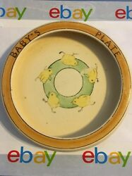 Old Vintage/antique Baby's Plate Adorable Chickens Running In A Circle